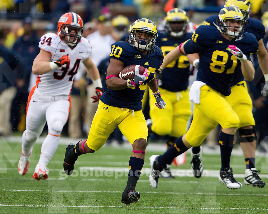 The University of Michigan football team beat Illinois, 45-0, in the homecoming game at Michigan Stadium in Ann Arbor, Mich., on October 13, 2012.