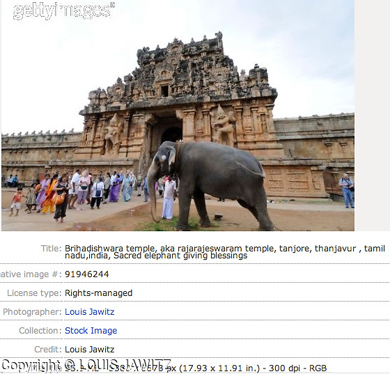 Brihadishwara temple, aka rajarajeswaram temple, tanjore, thanjavur , tamil nadu,india, Sacred elephant giving blessings