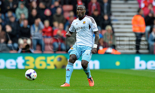 15.09.2013 Southampton, England.  Guy Demel  of West Ham during the Premier League game between Southampton and West Ham United from St Mary's Stadium.