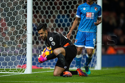 19.11.2016. Bet365 Stadium, Stoke, England. Premier League Football. Stoke City versus AFC Bournemouth. A shot on goal is saved by Bournemouth goalkeeper Adam Federici.
