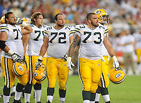 Aug. 28, 2009; Glendale, AZ, USA; Green Bay Packers center (72) Jason Spitz and guard (73) Daryn Colledge against the Arizona Cardinals during a preseason game at University of Phoenix Stadium. Mandatory Credit: Mark J. Rebilas-