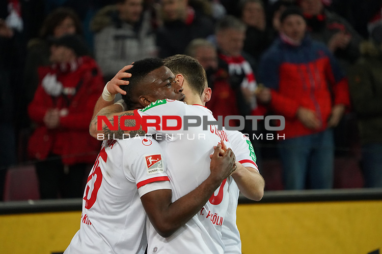 08.02.2019, RheinEnergieStadion, Koeln, GER, 2. FBL, 1.FC Koeln vs. FC St. Pauli,<br />  <br /> DFL regulations prohibit any use of photographs as image sequences and/or quasi-video<br /> <br /> im Bild / picture shows: <br /> Jhon C&oacute;rdoba (FC Koeln #15),   Torjubel / Jubel / Jubellauf,    mit Rafael Czichos (FC Koeln #5),   <br /> Foto &copy; nordphoto / Meuter