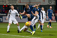 3rd March 2020; Dens Park, Dundee, Scotland; Scottish Championship Football, Dundee FC versus Alloa Athletic; Scott Taggart of Alloa Athletic stops the shot from Paul McGowan of Dundee