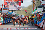 Thomas De Gendt (BEL) Lotto-Soudal outsprints Jarlinson Pantano (COL) Trek-Segafredo and Ivan Garcia Cortina (ESP) Bahrain-Merida to win Stage 19 of the 2017 La Vuelta, running 149.7km from Caso. Parque Natural de Redes to Gij&oacute;n, Spain. 8th September 2017.<br /> Picture: Unipublic/&copy;photogomezsport | Cyclefile<br /> <br /> <br /> All photos usage must carry mandatory copyright credit (&copy; Cyclefile | Unipublic/&copy;photogomezsport)