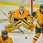 19 February 2016: University of Vermont Catamount Goaltender Packy Munson, a Freshman from Hugo, MN, makes a second period save against the Boston College Eagles at Gutterson Fieldhouse in Burlington, Vermont. The Eagles defeated the Catamounts 3-1 in the first game of their weekend series. Mandatory Credit: Ed Wolfstein Photo *** RAW (NEF) Image File Available ***