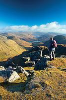 A distant Loch Arklet from Beinn Ime, the Arrochar Alps, Loch Lomond and the Trossachs National Park, Argyll & Bute