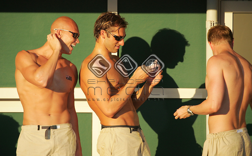 Michael Klim (L), Ian Thorpe and jono van Hazel (R)<br /> Swimming - Finals<br /> Summer Olympics - Athens, Greece 2004<br /> Day 06, 19th August 2004.<br /> &copy; Sport the library/Sandra Teddy