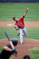 New Hampshire Fisher Cats Jose Fernandez (35) delivers a pitch during a game against the Erie SeaWolves on June 20, 2018 at UPMC Park in Erie, Pennsylvania.  New Hampshire defeated Erie 10-9.  (Mike Janes/Four Seam Images)