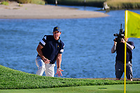 Phil Mickelson (USA) looks over his chip shot on 14 during round 1 foursomes of the 2017 President's Cup, Liberty National Golf Club, Jersey City, New Jersey, USA. 9/28/2017.<br /> Picture: Golffile | Ken Murray<br /> ll photo usage must carry mandatory copyright credit (&copy; Golffile | Ken Murray)