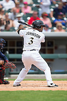Micah Johnson (3) of the Charlotte Knights at bat against the Gwinnett Braves at BB&T BallPark on July 3, 2015 in Charlotte, North Carolina.  The Braves defeated the Knights 11-4 in game one of a day-night double header.  (Brian Westerholt/Four Seam Images)