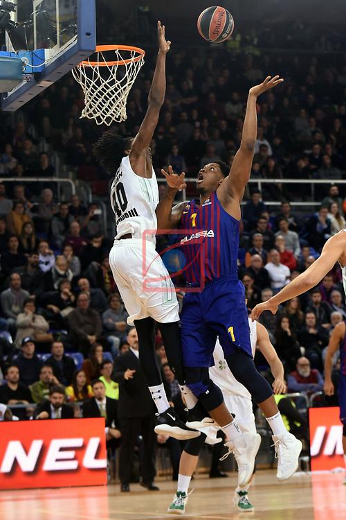 Turkish Airlines Euroleague 2018/2019. <br /> Regular Season-Round 16.<br /> FC Barcelona Lassa vs Darussafaka Tekfen Istanbul: 97-65.<br /> Jeremy Evans vs Kevin Seraphin.