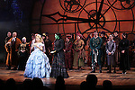John Schiappa, Carol Kane, Alli Mauzey, Lindsay Mendez, Derek Klena, Michael Wartella and cast  during the 10th Anniversary on Broadway Curtain Call for 'Wicked'  at the Gershwin Theatre on October 30, 2013  in New York City.
