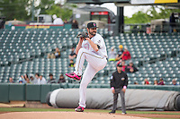 Nick Tropeano (25) of the Salt Lake Bees delivers a pitch to the plate against the Reno Aces in Pacific Coast League action at Smith's Ballpark on May 10, 2015 in Salt Lake City, Utah.  Salt Lake defeated Reno 9-2 in Game One of the double-header. (Stephen Smith/Four Seam Images)