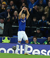 11th January 2020; Goodison Park, Liverpool, Merseyside, England; English Premier League Football, Everton versus Brighton and Hove Albion; Richarlison of Everton celebrates after scoring to give his side a 1-0 lead after 37 minutes - Strictly Editorial Use Only. No use with unauthorized audio, video, data, fixture lists, club/league logos or 'live' services. Online in-match use limited to 120 images, no video emulation. No use in betting, games or single club/league/player publications