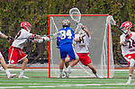 Orange, CA 03-05-17 - Michael Ellsworth (UCLA #34), Daniel Aguilar (Chapman #41) and Kipp Planchard (Chapman #26) in action during the UCLA - Champman Southern Lacrosse Conference MCLA Division 1 Men's Lacrosse game.