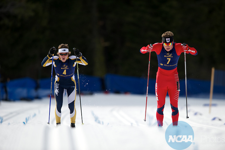 09 MAR 2012:  David Norris (4) of Montana State University and Miles Havlick (7) of the University of Utah sprint towards the finish during the Men's Cross Country Classical event at the NCAA Division I Men and Women's Ski Championship held at Bohart Ranch hosted by Montana State University in Bozeman, MT. Havlick placed 1st to win the national title while Norris placed 2nd. Brett Wilhelm/NCAA Photos.