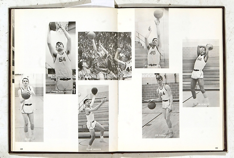 WATERBURY, CT, 03/07/07- 030707BZ04- Yearbook pages for the Sacred Heart High School 1967 boys basketball team.<br /> Jamison C. Bazinet Republican-American