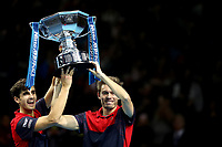 17th November 2019; 02 Arena. London, England; Nitto ATP Tennis Finals; Pierre-Hugues Herbert (FRA) and Nicolas Mahut (FRA) celebrate with the ATP doubles trophy - Editorial Use