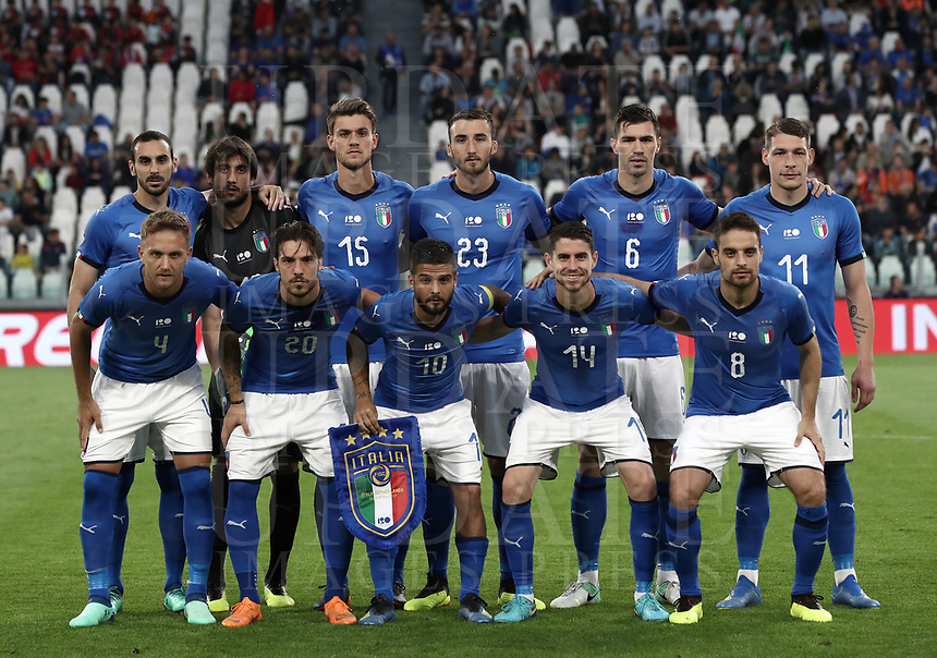International friendly football match Italy vs The Netherlands, Allianz Stadium, Turin, Italy, June 4, 2018. <br /> Italy players pose for the pre match photograph prior to the international friendly football match between Italy and The Netherlands at the Allianz Stadium in Turin on June 4, 2018.<br /> UPDATE IMAGES PRESS/Isabella Bonotto