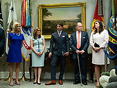 From left to right, White House Counselor Kellyanne Conway, Director of Strategic Communications Mercedes Schlapp, White House Principal Deputy Press Secretary Hogan Gidley, Director of the United States National Economic Council Larry Kudlow and White House Press Secretary Sarah Huckabee Sanders all refute reports reports that President Donald Trump lost his temper in a meeting yesterday with Democrats, as President Donald Trump delivers remarks on supporting American farmers, in the Roosevelt Room at the White House in Washington, D.C. on May 23, 2019. Trump announced a $16 Billion in aid to farmers and also spoke on China tariffs, Iran and his relations with Congressional Democrats.  <br /> Credit: Kevin Dietsch / Pool via CNP