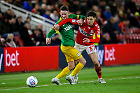 Preston North End's Alan Browne battles with Middlesbrough's Mo Besic<br /> <br /> Photographer Alex Dodd/CameraSport<br /> <br /> The EFL Sky Bet Championship - Middlesbrough v Preston North End - Wednesday 13th March 2019 - Riverside Stadium - Middlesbrough<br /> <br /> World Copyright &copy; 2019 CameraSport. All rights reserved. 43 Linden Ave. Countesthorpe. Leicester. England. LE8 5PG - Tel: +44 (0) 116 277 4147 - admin@camerasport.com - www.camerasport.com