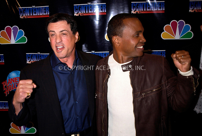 WWW.ACEPIXS.COM . . . . . ....NEW YORK, MARCH 7, 2005....Sylvester Stallone and Sugar Ray Leonard at a private viewing of 'The Contender' at Planet Hollywood.....Please byline: KRISTIN CALLAHAN - ACE PICTURES.. . . . . . ..Ace Pictures, Inc:  ..Philip Vaughan (646) 769-0430..e-mail: info@acepixs.com..web: http://www.acepixs.com