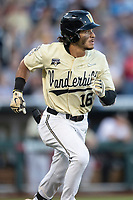 Vanderbilt Commodores third baseman Austin Martin (16) runs to first base against the Michigan Wolverines during Game 3 of the NCAA College World Series Finals on June 26, 2019 at TD Ameritrade Park in Omaha, Nebraska. Vanderbilt defeated Michigan 8-2 to win the National Championship. (Andrew Woolley/Four Seam Images)