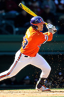 Left fielder Jay Baum (13) of the Clemson Tigers bats in the Reedy River Rivalry game against the South Carolina Gamecocks on March 1, 2014, at Fluor Field at the West End in Greenville, South Carolina. South Carolina won, 10-2.  (Tom Priddy/Four Seam Images)