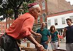 Ron Rifenberg of Hurley, NY demonstrating Hand Tool Carpenter techniques on Main Street during OldTimers Day in Saugerties, NY on Saturday, August 6, 2011. Photo by Jim Peppler. Copyright Jim Peppler/2011.