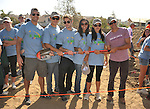 PACOIMA, CA. - October 10: Colin Egglesfield, Michael Rady, Shaun Sipos, Jessica Lucas, Stephanie Jacobsen and Thomas Calabro. breaking ground at The 2009 American Dream Walk To Benefit Habitat For Humanity at Lowe's Home Improvement on October 10, 2009 in Pacoima, California.