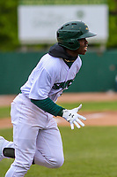 Beloit Snappers outfielder Lazaro Armenteros (8) runs to first base during a Midwest League game against the Quad Cities River Bandits on May 20, 2018 at Pohlman Field in Beloit, Wisconsin. Beloit defeated Quad Cities 3-2. (Brad Krause/Four Seam Images)