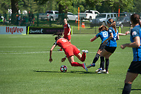 Kansas City, MO - Saturday May 13, 2017:  Nadia Nadim and Alexa Newfield battle during a regular season National Women's Soccer League (NWSL) match between FC Kansas City and the Portland Thorns FC at Children's Mercy Victory Field.