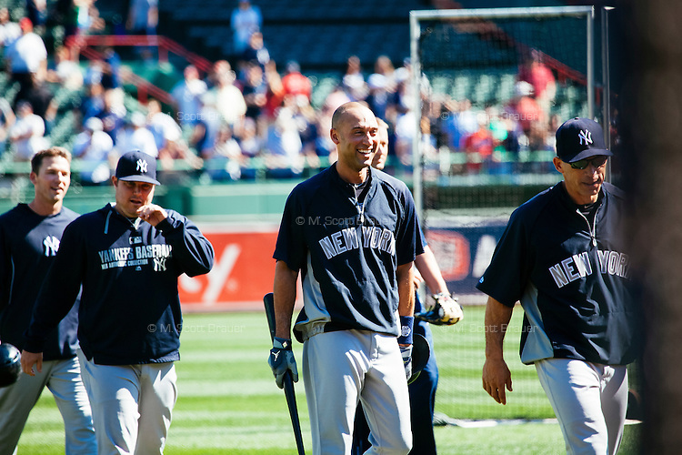 BOSTON, MASS. - SEPT. 28, 2014: Derek Jeter returns to the dugout after warm up before the New York Yankees and Boston Red Sox play at Fenway Park. Frankie said he is a Red Sox fan but still wanted a Jeter signature. The game is last game of Derek Jeter's career. M. Scott Brauer for The New York Times