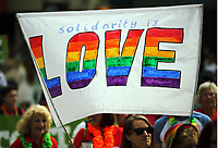 A Solidarity is Love banner held up as thousands of people take part in this year's Pride Parade in the centre of Cardiff, Wales, UK. Sayurday 26 August 2017