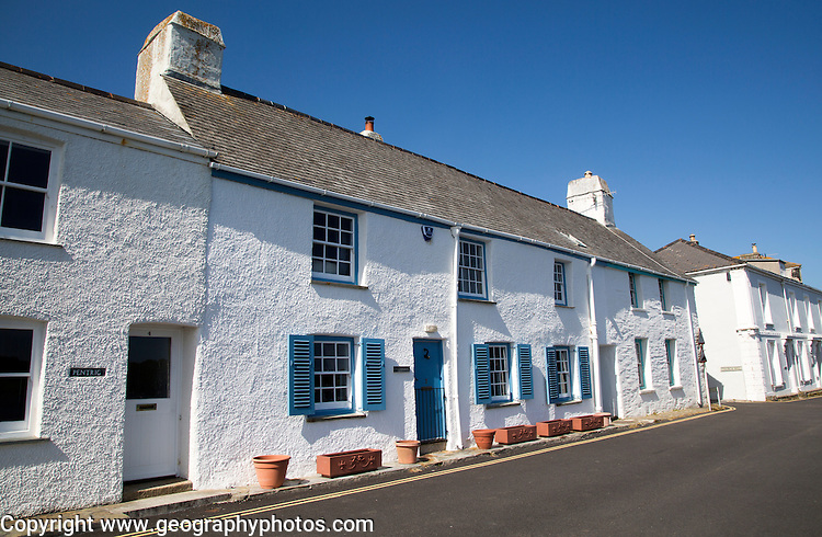 Traditional whitewashed cottages in St Mawes, Cornwall, England, UK