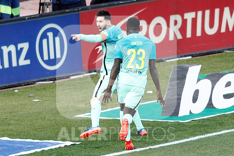 FC Barcelona's Leo Messi (l) and Samuel Umtiti celebrate goal during La Liga match. February 26,2017. (ALTERPHOTOS/Acero)