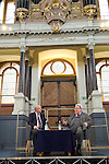 Sir Alan Parker, film director and Graham Benson at the Sheldonian Theatre during the Sunday Times Oxford Literary Festival, UK, 24 March - 1 April 2012. <br />