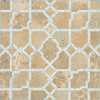 Fasaldo, a natural stone waterjet mosaic shown in honed Lavigne and polished Calacatta, is part of the Parterre Collection by Paul Schatz for New Ravenna.