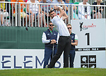 Englands James Anderson tees off on the 1st <br /> <br /> Golf - Day 1 - Celebrity Cup 2018 - Saturday 30th June 2018 - Celtic Manor Resort  - Newport<br /> <br /> &copy; www.sportingwales.com- PLEASE CREDIT IAN COOKCelebrity Cup 2018<br /> Celtic Manor Resort<br /> 30.06.18<br /> &copy;Steve Pope <br /> Fotowales