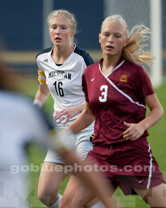 The University of Michigan women's soccer team lost to Minnesota 3-2 at the UM Soccer Complex in Ann Arbor, Mich., on September 23, 2011.