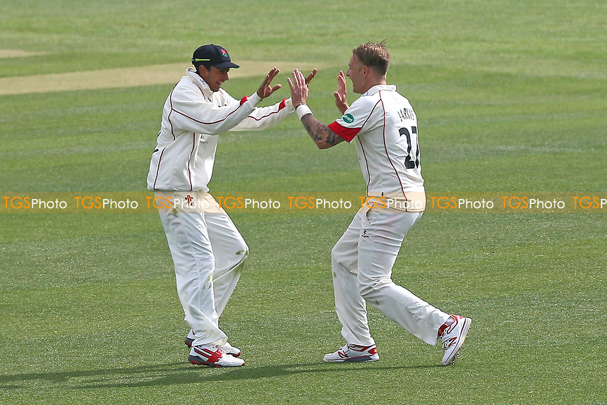 Kyle Jarvis (R) of Lancashire celebrates taking the wicket of Adam Wheater with Haseeb Hameed during Essex CCC vs Lancashire CCC, Specsavers County Championship Division 1 Cricket at The Cloudfm County Ground on 10th April 2017