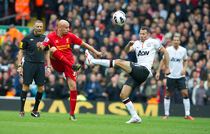 Liverpool's Jonjo Shelvey and Manchester United's Ryan Giggs ..Football - Barclays Premiership - Liverpool v Manchester United - Sunday 23rd September 2012 - Anfield - Liverpool..