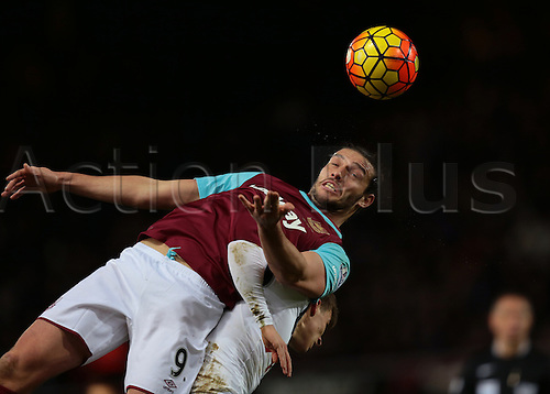 02.03.2016. Boleyn Ground, London, England. Barclays Premier League. West Ham versus Tottenham Hotspur. West Ham United Striker Andy Carroll wins a header against Tottenham Hotspur Midfielder Tom Carroll