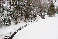 A snowy stream on the Keweenaw Peninsula near Copper Harbor Michigan in winter.