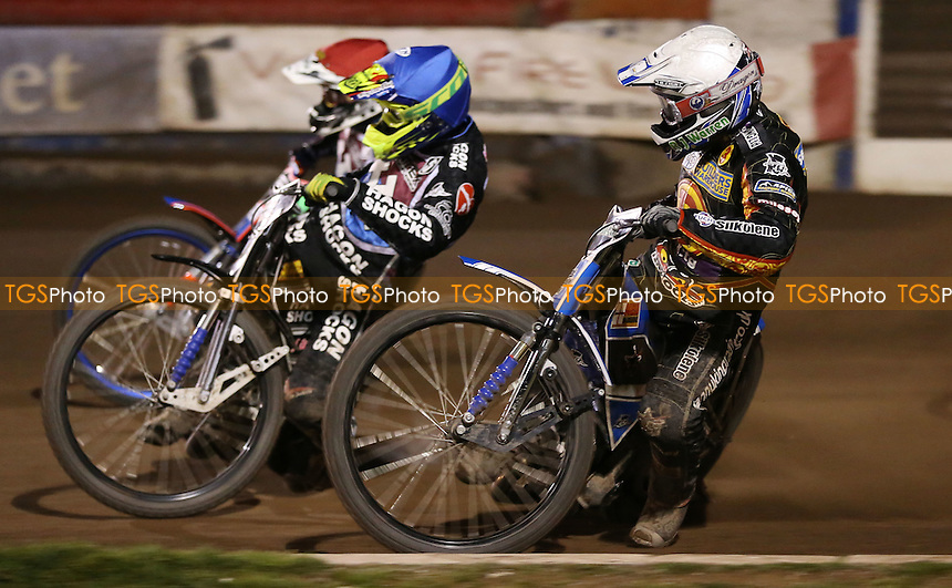Heat 11: Danny King (white), Lewis Bridger (blue) and Davey Watt (red) - Lakeside Hammers vs Birmingham Brummies, Elite League Speedway at the Arena Essex Raceway, Pufleet - 11/04/14 - MANDATORY CREDIT: Rob Newell/TGSPHOTO - Self billing applies where appropriate - 0845 094 6026 - contact@tgsphoto.co.uk - NO UNPAID USE