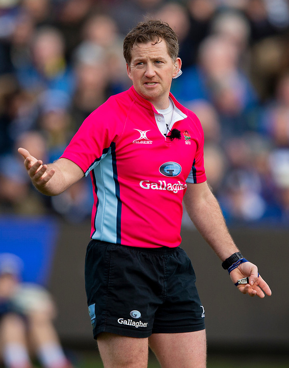 Referee JP Doyle<br /> <br /> Photographer Bob Bradford/CameraSport<br /> <br /> Gallagher Premiership - Bath Rugby v Newcastle Falcons - Saturday 16th February 2019 - The Recreation Ground - Bath<br /> <br /> World Copyright © 2019 CameraSport. All rights reserved. 43 Linden Ave. Countesthorpe. Leicester. England. LE8 5PG - Tel: +44 (0) 116 277 4147 - admin@camerasport.com - www.camerasport.com