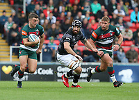 Leicester Tigers' George Ford breaks clear of Newcastle Falcons' Gary Graham <br /> <br /> Photographer Stephen White/CameraSport<br /> <br /> Gallagher Premiership Round 2 - Leicester Tigers v Newcastle Falcons - Saturday September 8th 2018 - Welford Road - Leicester<br /> <br /> World Copyright &copy; 2018 CameraSport. All rights reserved. 43 Linden Ave. Countesthorpe. Leicester. England. LE8 5PG - Tel: +44 (0) 116 277 4147 - admin@camerasport.com - www.camerasport.com
