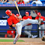 28 February 2011: Washington Nationals' infielder Danny Espinosa is hit by a pitch during a Spring Training game against the New York Mets at Digital Domain Park in Port St. Lucie, Florida. The Nationals defeated the Mets 9-3 in Grapefruit League action. Mandatory Credit: Ed Wolfstein Photo