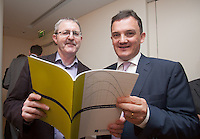 ***NO FEE PIC ***<br /> 23/04/2015<br /> (L to r) Hugh Bruton Britanny Ferries &amp; William H Batt Indecon<br /> during the  launch by the Irish Maritime Development Office (IMDO) of its Irish Maritime Transport Economist report at the Morrison Hotel , Dublin.<br /> Photo:  Gareth Chaney Collins