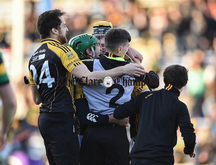 Ballyea players and subs celebrates on the final whistle following the Munster Club hurling final against Glen Rovers at Thurles. Photograph by John Kelly.